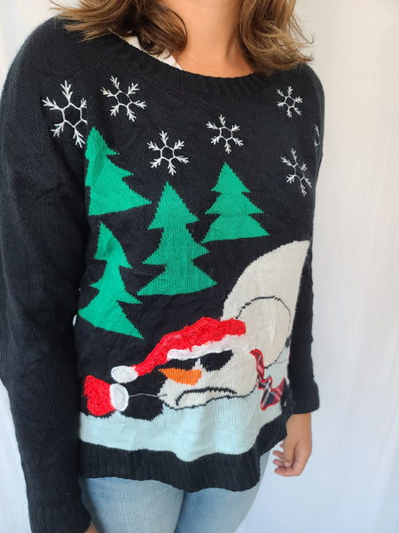 Melted Frosty Snowman Pullover Sweater