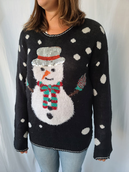 Fluffy Snowman Pullover Christmas Sweater