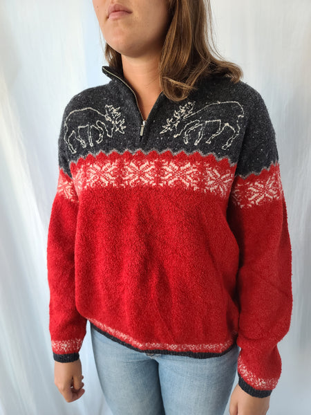 Moose Grey and Red Sweater
