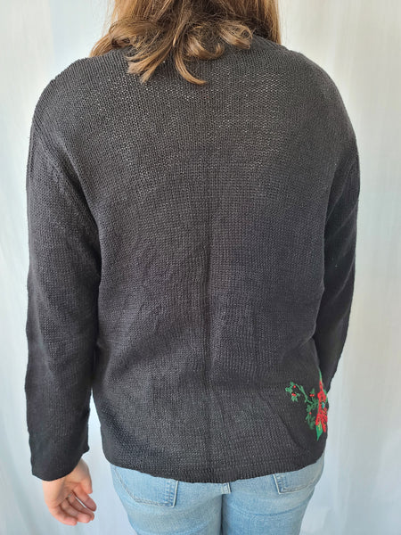 Cardinal and Poinsettia Zipper Christmas Sweater