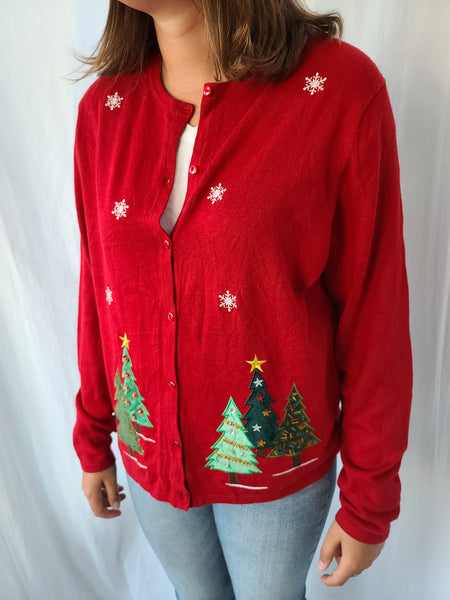 Trees and Snowflakes Red Button Christmas Sweater