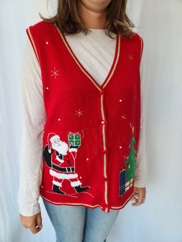 Santa and Christmas Tree 🎄 Red Button up Vest