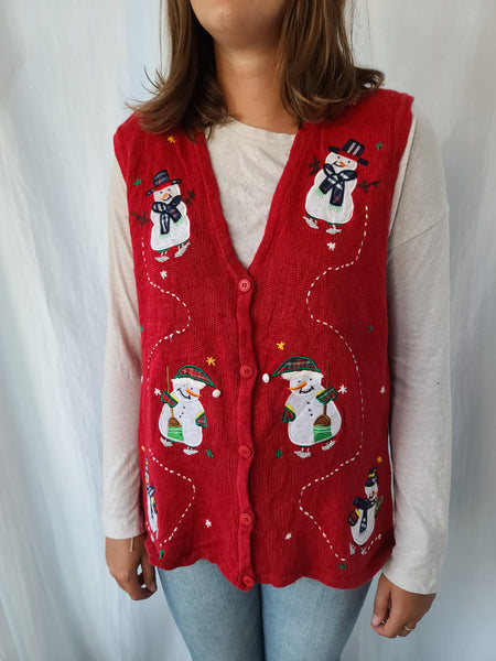 Assorted Snowmen Red Button up Vest