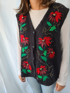 Black Poinsettia Button Christmas Vest