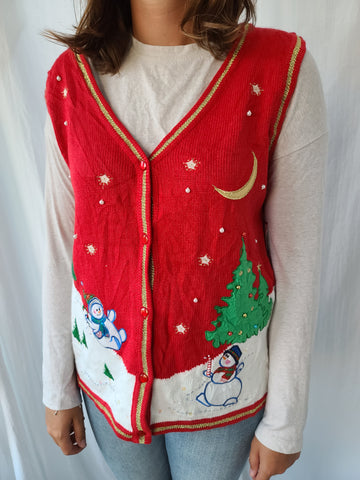 Frolicking Snowmen Winter Scene Christmas Vest