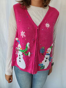 Pink Snowman and Snowflakes Zipper Vest