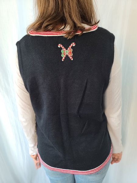 Black Snowman and Snowflakes Christmas Vest