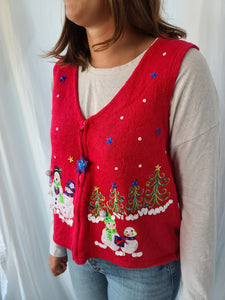 Snowmen and Snowflakes Red Vest