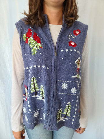 Blue winter themed Zip up Sweater