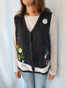Black Christmas Trees and Stars with Moon vest