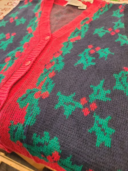 Vintage Holly Button up Christmas Vest