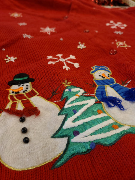 Snowflakes and Snowmen Button Red Sweater Vest