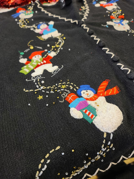 Happy Snowmen Playing in the Snow Button up Sweater
