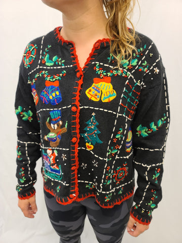 Assorted Christmas Stitchery Button Sweater