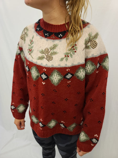 100% Lambs Wool Pine and Holly Pullover Sweater