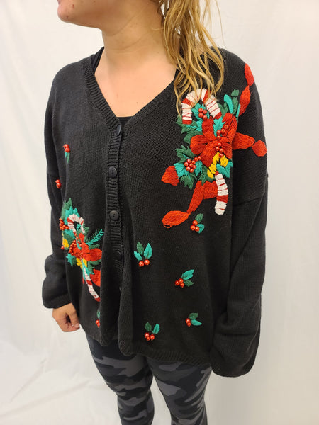 Candy Cane and Holly Button Sweater
