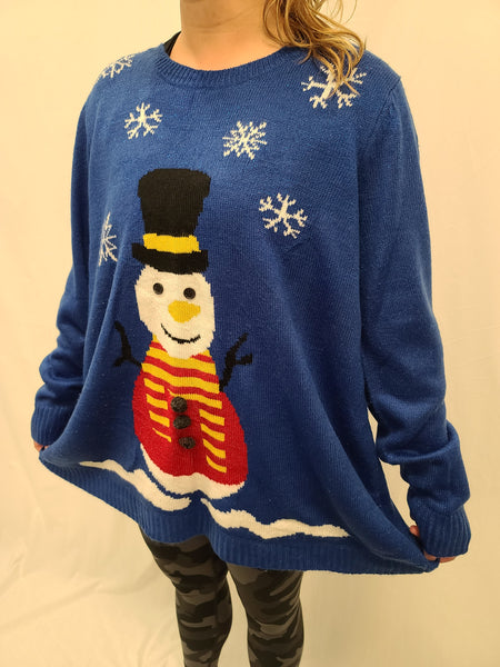 Blue Snowman Pullover Sweater