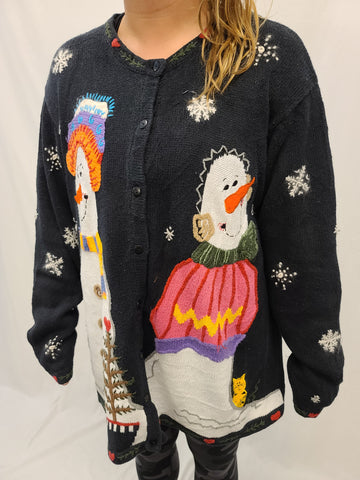 Happy Snowmen and Cat Button Sweater