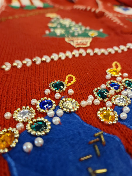 Assorted Christmas Button Vest with Beading