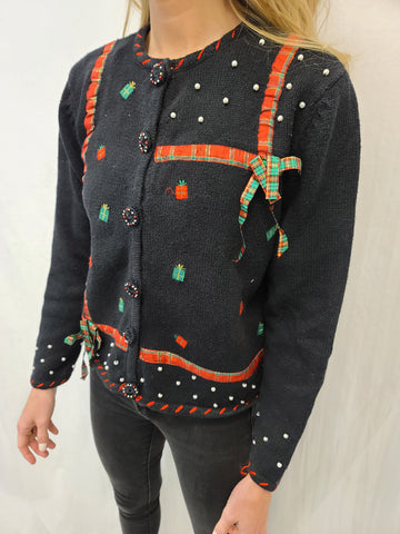 Gift Present Black Button Sweater
