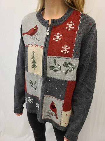 Cardinal and Tree Patchwork Zipper Sweater