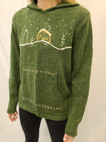 Green Cabin Pocket Woolrich Pullover Sweater