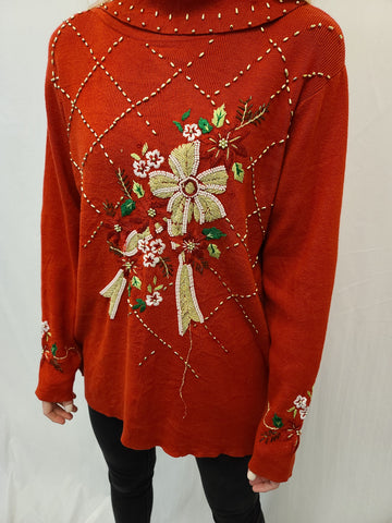 Long Turtleneck Poinsettia and Bow Bead Pullover Sweater