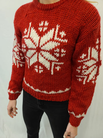 Late 80s Snowflake Pullover Sweater