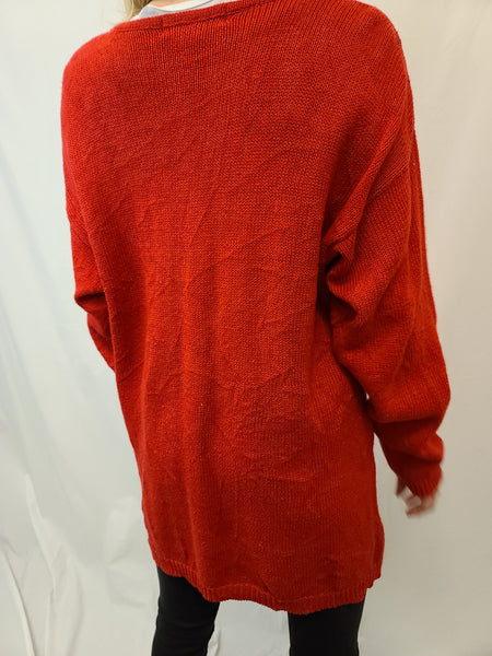 Ornamental Long Red Pullover Sweater