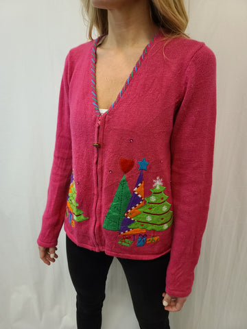 Hot Pink Christmas Trees Zipper Sweater