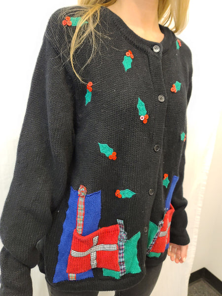 Holly and Presents button sweater with pockets