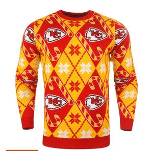 Kansas City Chiefs Candy Cane Sweater