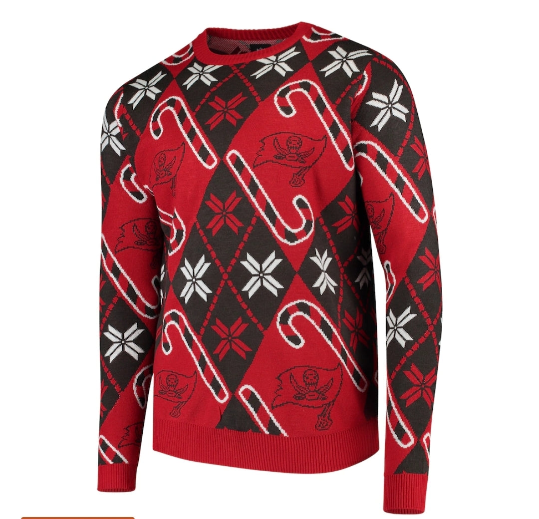 Tampa Bay Buccaneers Candy Cane Sweater