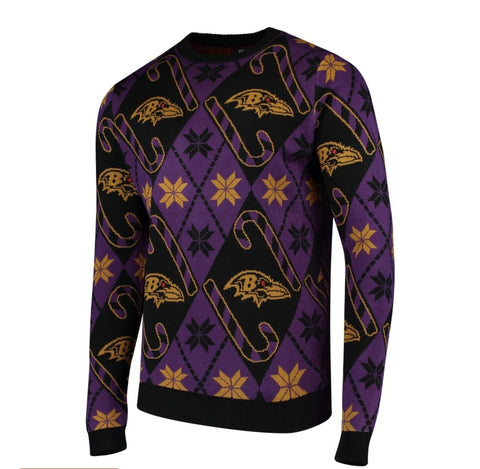 Baltimore Ravens Candy Cane Sweater