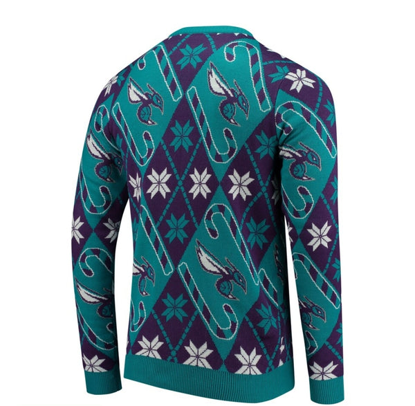 Charlotte Hornets Candy Cane Sweater