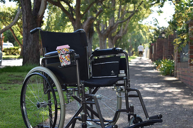Wheelchair Armrest Bag and Cup Holder - Black - Astrata Health