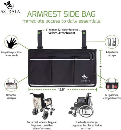 Wheelchair Armrest Bag and Cup Holder - Black - Astrata Health Solutions