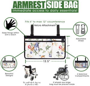 Wheelchair Armrest Bag and Cup Holder-Floral - Astrata Health