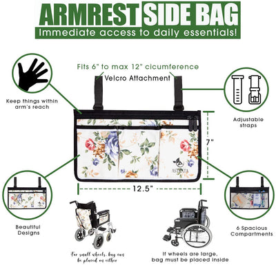Wheelchair Armrest Bag and Cup Holder - Floral - Astrata Health