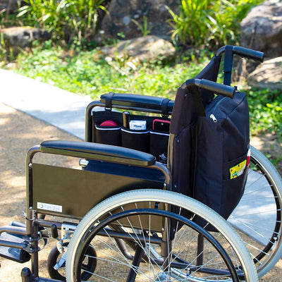 Wheelchair Bag Set Armrest Bag and Backpack - Black - Astrata Health