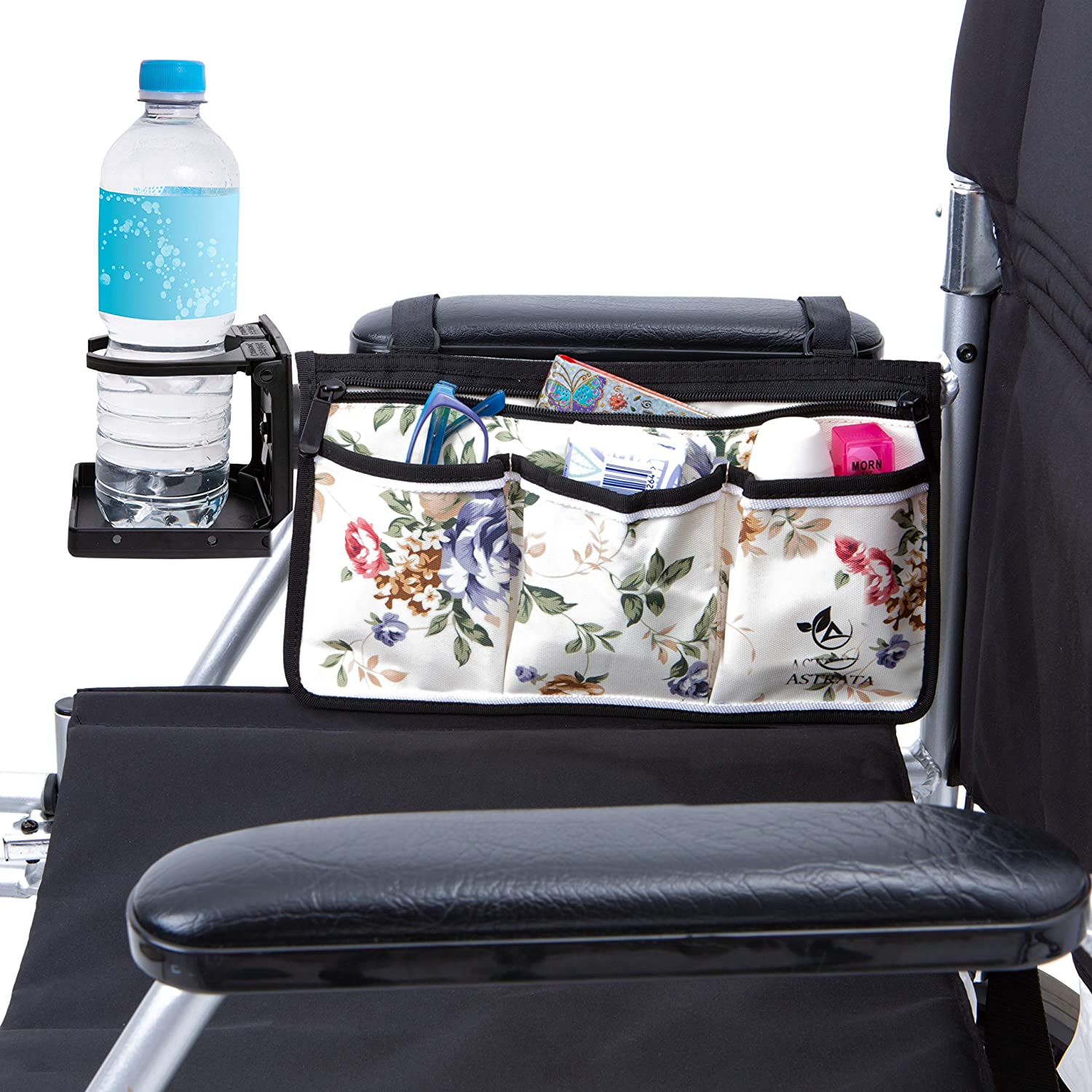 Wheelchair Armrest Bag and Cup Holder - Floral