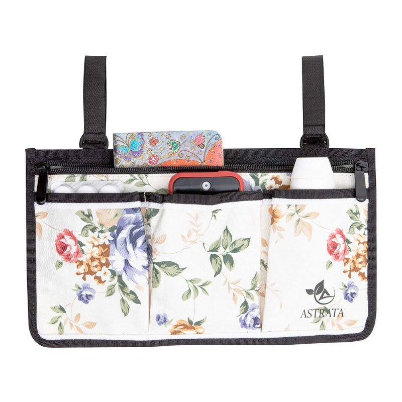 Wheelchair Side Bag Arm Rest Pouch - Flower