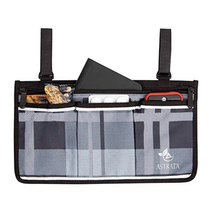 Wheelchair Side Bag Arm Rest Pouch - Gray Tartan - Astrata Health