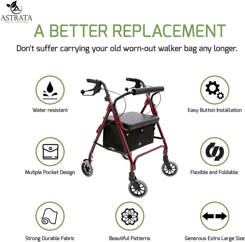 Extra Large Rollator Underseat Bag-Black - Astrata Health