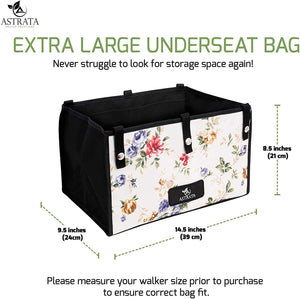 Extra Large Rollator Underseat Bag-Floral - Astrata Health