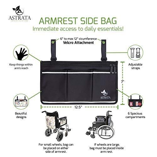 Wheelchair Side Bag Arm Rest Pouch - Black