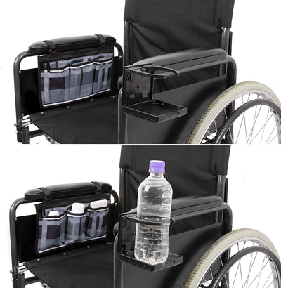 Wheelchair Armrest Bag and Cup Holder - Gray - Astrata Health