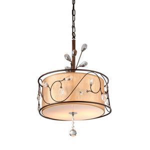 American Bronzetone and Round Fabric Shade Classic Chandelier