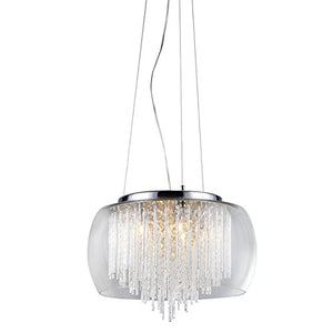 American Modern Chrome and Crystal 5-light Chandelier