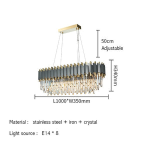 New Modern Luxury Crystal Chrome Rectangle Chandelier